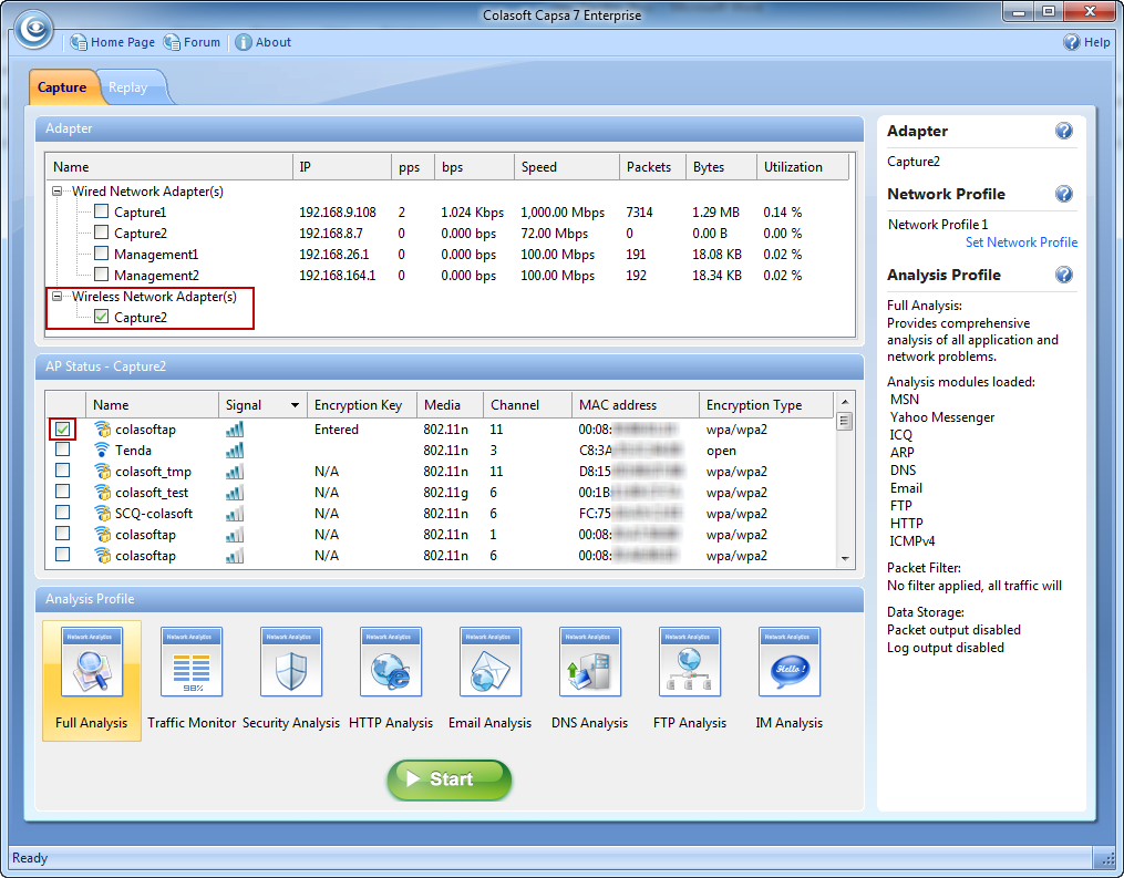 Network Capture Box : How to capture wireless network traffic colasoft